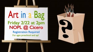 Photos used with permission. Actually three different clip arts, a simple brown bag, an easel and a single paint brush merged into this promo for a kids program.